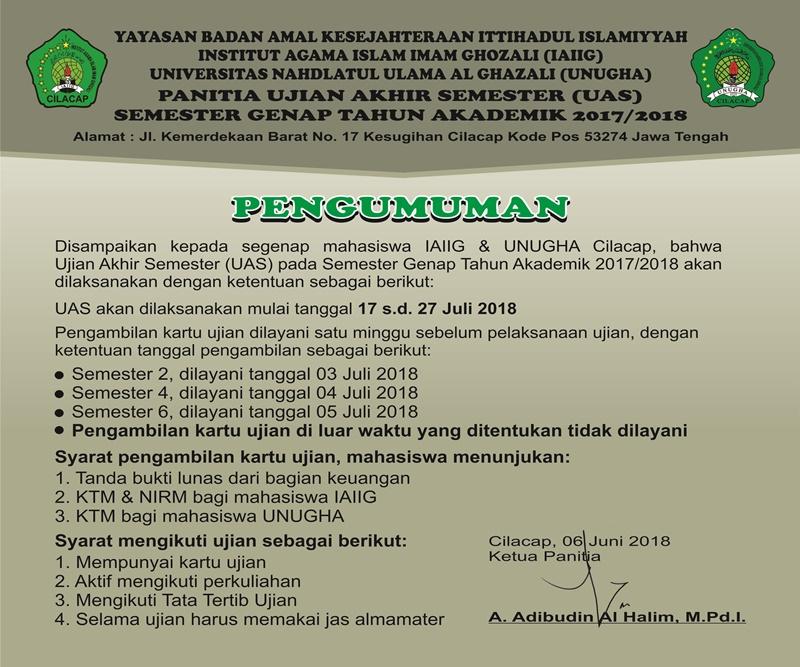 Info UAS GENAP 2018